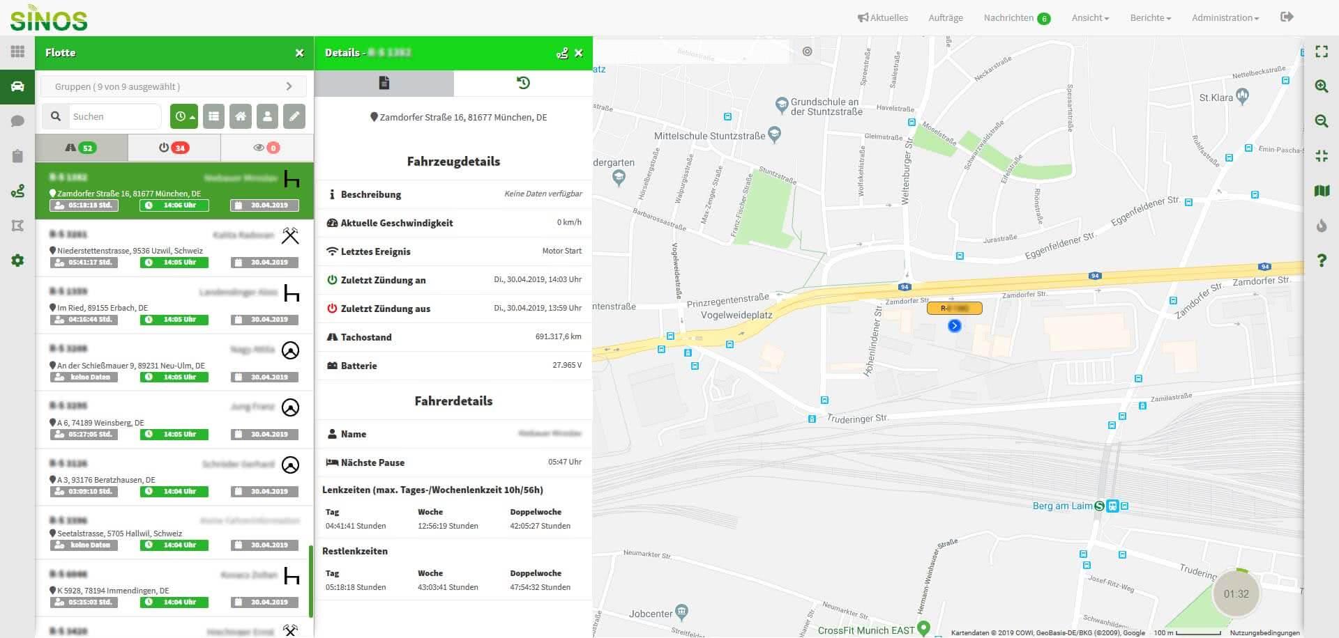 GPS Fahrzeugortung mit Sinos - Die Detailansicht der GPS Ortung