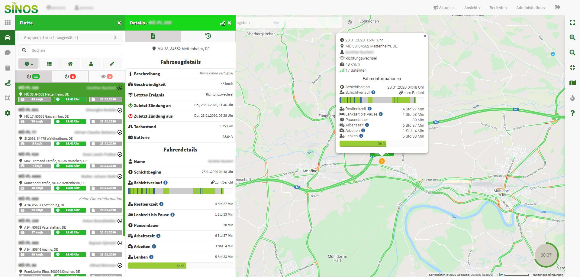 Ansicht automatischer Download digitaler Tacho bei Sinos